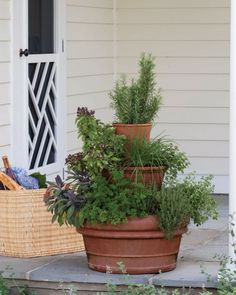 If you don't have a big porch, situate this tiered herb garden in a sunny spot near the kitchen door for easy snipping. Our planter contains rosemary, sage, parsley, thyme, oregano, basil, and chives.
