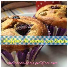 Muffins de avena de limón y arándanos