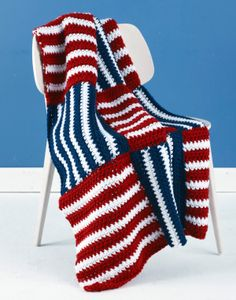 Add a touch of Americana to your home with this #USA afghan in Lion Brand's Hometown USA, a fan favorite yarn made right here in America.
