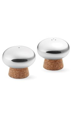 salt & pepper, table, serverware, shaker, stainless steel and cork shaker, button mushrooms