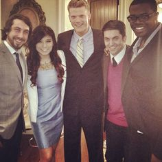 Pentatonix, This really is a nice picture of them all together. When I met them, even though they were in lazy, rehearsal clothes, they were still SOOO BEAUTIFUL! <3 :)