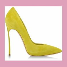 Casadei Blade Pump in Suede Yellow