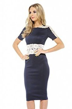 Navy Contrast Lace 3/4 Sleeve Midi Dress