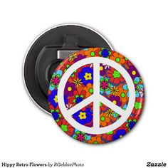Hippy Retro Flowers Bottle Opener - $5.05 - Hippy Retro Flowers Bottle Opener - by #RGebbiePhoto @ #zazzle - #Hippy #Retro #Flowers - Colorful retro style flowers, hippy style in bright colors! Large petal flowers in a jumbled assortment. 70s Hippy look, great throwback item! Add your name or text to personalize for your favorite hippy!