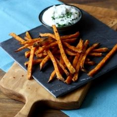 "{RECIPE} Baked Sweet Potato ""Fries"" with Garlicky Yogurt Dip"
