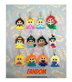 ◄► These Perler Bead designs were created by MadamFANDOM ◄► Impress your party goers with little 8-bit versions of your favorite Princesses! Set
