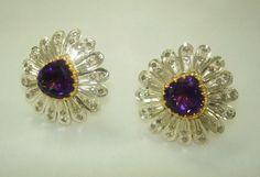 Sale! Retro Earrings 1.5ct Diamond 6ct Zambian Deep Purple Blue Red Flash Amethyst Handmade Stud Violet Flower Motif 18k Gold by BellaDAndalora on Etsy