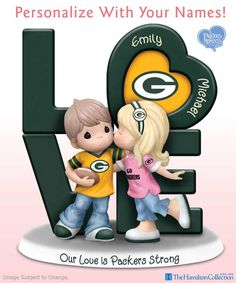 Just like the Green Bay Packers, you and your sweetie are the perfect team! Celebrate your devotion to each other and your favorite NFL team with this Precious Moments figurine. A winning NFL collectible for couples who love the Packers, this officially licensed figurine is personalized with the names of you and your sweetheart!