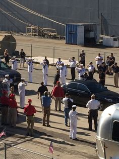 Buzz Aldrin's arrival to the USS Hornet Museum.