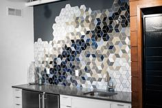 Diamond tiles can make unique geometric patterns. Check out how we turned a small space into a statement with a diamond mosaic tile kitchenette backsplash! Diy Outdoor Kitchen, Home Decor Kitchen, Diy Home Decor, Kitchenette, Home Bar Rooms, Love Your Home, Handmade Tiles, Kitchen Tiles, Tile Design
