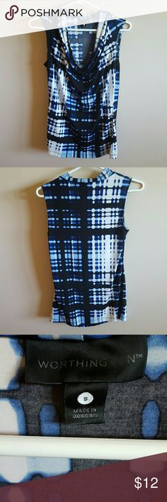 Brand New Worthington Drap Shirt 99% Polyester 7% Spandex. Machine wash warm. Tumble dry low. From shoulder to bottom of shirt 26 inches. Worthington Tops Blouses
