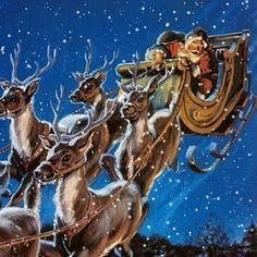 Christmas Santa And His Reindeer, Santa Baby, Vintage Christmas Cards, Merry Christmas, Blessings, Christmas Decorations, Magic, Holidays, Winter