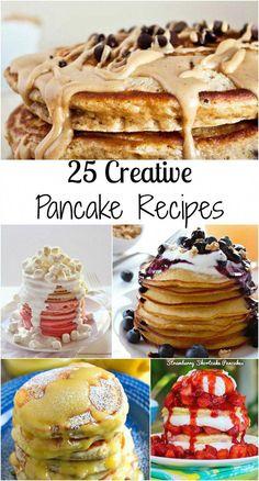 waffles recept 25 Creative Pancake Recipes 25 Creative Pancake Recipes from Lyuba @ Will Cook For Smiles Breakfast Pancakes, Pancakes And Waffles, Best Breakfast, Fruit Pancakes, Pancake Recipes, Breakfast Recipes, Cooking Recipes, Pancake Flavors, Pancake Ideas