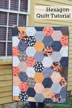 """Large Hexagon Quilt Tutorial - The Polka Dot Chair Blog, learn how to make a hexagon quilt without any """"Y"""" seams.  Love this Halloween version.. would be so cute made up as a Christmas Quilt"""
