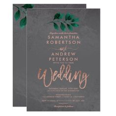 Rose gold script green leaf cement wedding with elegant faux rose gold typography with watercolor green leaf foliage on grey cement concrete, perfect for industrial chic style wedding Color: cement/gold/green/rose. Typography Wedding Invitations, Floral Wedding Invitations, Invites, Party Invitations, Afternoon Wedding, Wedding Places, Rose Wedding, Wedding Fun, Wedding Bride