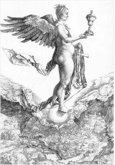 """뒤러, """"네메시스"""", 1502, 동판화, 브리티쉬 미술관.  보복, 복수, 응징의 여신인 네메시스가 이 판화에서는 포르투나 여신의 모습으로 등장했다. 원래 네메시스는 예배자들에게 행운을 주는 역할도 있었는데 나중에는 포르투나에게 그 역할을 물려주고 한을 풀어주는 응징의 여신의 역할을 맡게 되었다고 한다. 먼저, 구 밑을 보자. 구 밑에 마을이 있다. 즉 구는 세상이다. 세상 위에 포르투나 여신이 서 있는 것이다. 눈이 가려져있지는 않지만, 배가 튀어나오고 주름진 피부, 날리는 천자락은 그녀가 포르투나의 모습이라는 것을 알려준다.   그녀는 여신이라고 믿기 힘들 정도로 추한 모습을 가졌지만 놓치지 않고 자신을 잡는 이에게는 행운을 준다.   그런데 행운은 마냥 좋은 것일까? 고액의 복권에 당첨된 사람들을 조사해 본 결과 오히려 불행해졌다는 조사가 있었다. 행운은 추하기도 하다."""