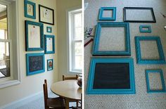 Get a bunch of different frames in different shapes. Put metal or something in tehm so they are magnetic and paint htem a pretty color,t hen put art on them with magnets.