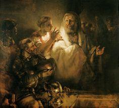 St Peter denies Christ.  Rembrandt van Rijn.