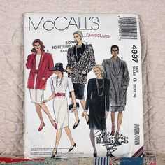 4997 McCALLS Uncut PATTERN 1990 Women Unlined Straight Jacket Shawl Collar Chemise Dress Size 20 22 24 3-oz