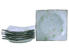Green Cherry Blossom Square Appetizer Plate Set
