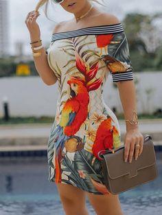 2019 Spring Women Elegant Sexy Bodycon Mini Party Dresses Ladies Off Shoulder Bird Pattern Striped Tape Splicing Dress Casual Dresses, Short Sleeve Dresses, Dresses For Work, Floral Dresses, Fall Dresses, Dress Outfits, Evening Dresses, Short Sleeves, Trend Fashion