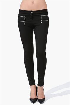 Zipper Skinny Pants in Black - I want these, and the shoes