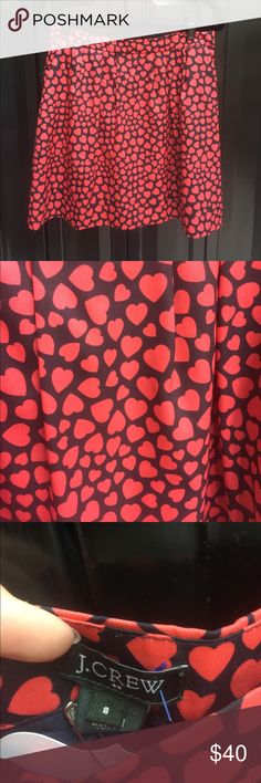J crew silk skirt Adorable light and classy Jcrew patterned heart skirt. 17 inches long J. Crew Skirts A-Line or Full