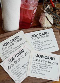 Printable job cards as a consequence for behavior (a way to discipline teens) thirtyhandmadedays.com
