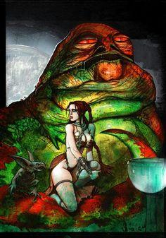 Star Wars - Leia and Jabba By Simon Bisley