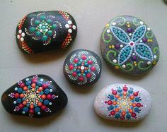 Hand Painted Stone_Coral Aqua Raspberry by P4MirandaPitrone