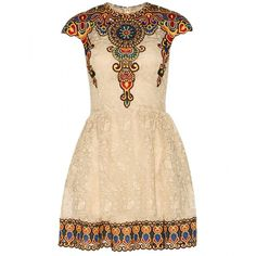 Valentino Embroidered Lace Dress (96.100 UYU) ❤ liked on Polyvore featuring dresses, vestidos, valentino, short dresses, embroidered mini dress, valentino dress, beige lace dress, beige short dress and embroidered dress