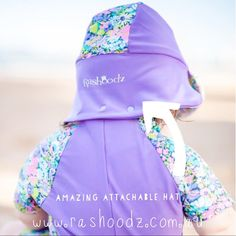 Our amazing attachable hats for baby swimwear.