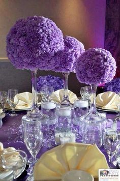 Purple centerpieces at a quinceaera birthday party! see more party ideas at catchmyparty com! decoration purple gold for wedding Quince Decorations, Birthday Decorations, Wedding Decorations, Purple Party Decorations, Quinceanera Planning, Quinceanera Party, Quinceanera Dresses, Quinceanera Centerpieces, Party Centerpieces