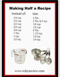 To halve a recipe