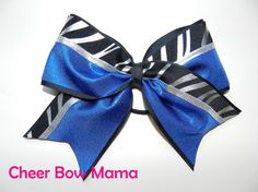 Black & Blue Zebra Cheer Bow by Cheer Bow Mama