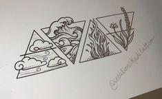 Dreieckiges Tattoos, Great Tattoos, Mini Tattoos, Body Art Tattoos, Small Tattoos, Sleeve Tattoos, Four Elements Tattoo, 4 Elements, Geometric Tattoo Elements