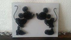 Minnie Mickey Disney string nail art. Unique