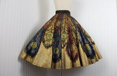 1950s Skirt 50s Peacock Feathers Mexican Hand by jumblelaya