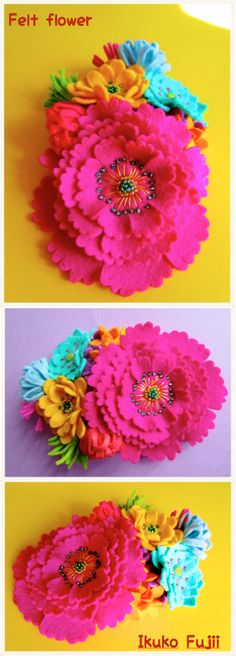 Brightly colored felt flowers