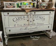 Vintage Graphics Painted on a Side Board ~ Back Roads Revival