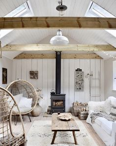 Rattan hanging chair, wood burning stove, antique wooden floor and a deconstructed chair create a bohemian, modern rustic farmhouse look Living Room Designs, Living Spaces, Style Deco, Cottage Interiors, Scandinavian Home, Sweet Home, House Design, Wood Burning, Rustic Farmhouse