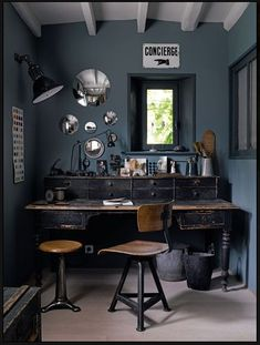 *Various home office inspirations.   Vintage industrial office furnishing, mirrors that remind me of bubbles, color though a little to dark