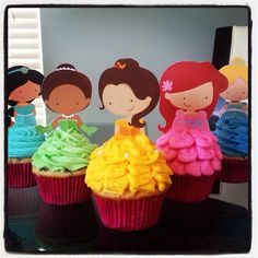 Your Cupcake is Her Dress Princess Cupcake Toppers Birthday Party Decorations Set of 12 very cute Disney Inspired by TopperoftheWorld on Etsy