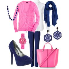 """A Classic Combo- Navy and Pink"" by djgauh on Polyvore"