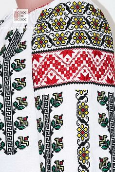 Folk Embroidery embroidery detail of the Romanian peasant blouse from Moldavia… Folk Embroidery, Learn Embroidery, Embroidery Patterns, Machine Embroidery, Antique Quilts, Peasant Blouse, Clothing Patterns, Crochet Stitches, Needlework