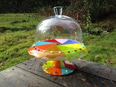 Pinwheel Style Brightly Colored Fused Glass Cake Stand Plate with Clear Dome | eBay