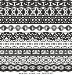 Tribal seamless pattern - aztec black and white background - stock vector