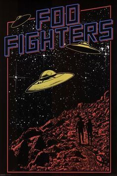 An awesome UFO pop art poster for Dave Grohl's post-Nirvana rock band the Foo Fighters! Check out the rest of our great selection of Foo Fighters poste (Diy Shirts For Concerts) Pop Art Posters, Tour Posters, Vintage Music Posters, Vintage Movies, Movie Posters, Foo Fighters Poster, Foo Fighters Lyrics, Rock Band Posters, Kunst Poster