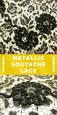 Black and Gold Metallic Soutaché Lace