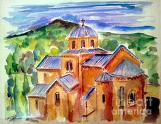 Gradac Monastery watercolor